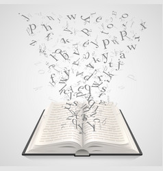 open book with flying letters on a white vector image