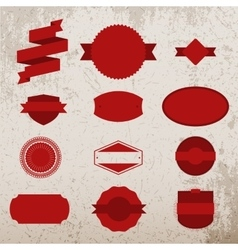 Red Christmas Labels Set on grunge Background vector image vector image
