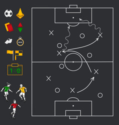 soccer football field with icon set vector image