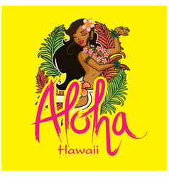 aloha hawaii girl dancing hula background i vector image vector image