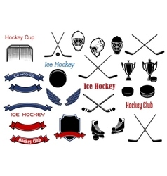 Ice hockey and heraldic symbols or items vector image vector image