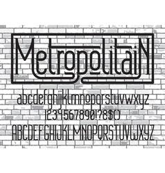 Metropolitain font minimalistic typeface vector