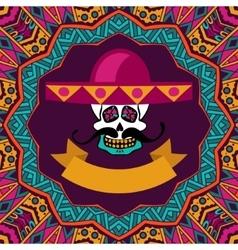 mexican shugar skull with mustache and sombrero vector image