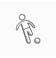 Soccer player with ball sketch icon vector image vector image