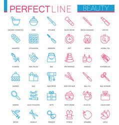 spa beauty and cosmetic color thin line web icons vector image vector image
