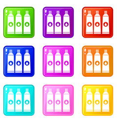 Three tubes with paint icons 9 set vector