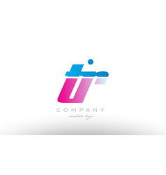 tr t r alphabet letter combination pink blue bold vector image vector image