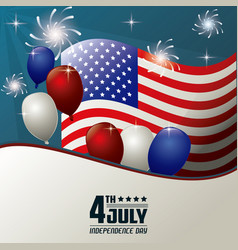 4th july independence day flag balloons fireworks vector image vector image