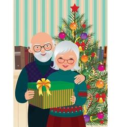 Elderly couple celebrating Christmas vector image vector image
