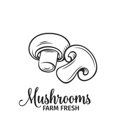 hand drawn mushrooms icon vector image vector image