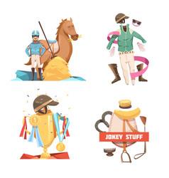Horse riding retro cartoon compositions vector