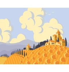 Landscape with village vector