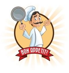 man chef kitchen restaurant design vector image
