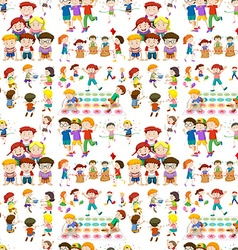 Seamless background with children playing games vector image vector image
