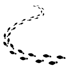 Set of shoeprints receding into the distance vector image