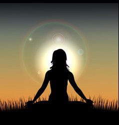 silhouette of a woman acts yoga against the vector image