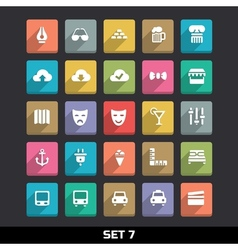 Trendy Icons With Long Shadow Set 7 vector image