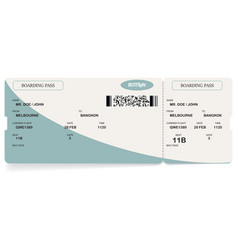 Blue modern airline boarding pass ticket vector