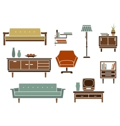 Flat interior furniture and accessories vector image vector image