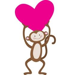 monkey heart vector image vector image