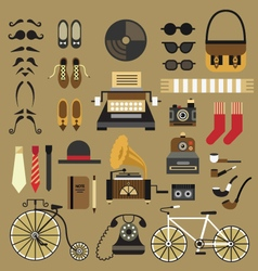 Retro set in flat style vector image