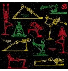 Skeleton practicing yoga vector image vector image