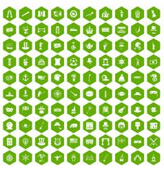 100 top hat icons hexagon green vector image