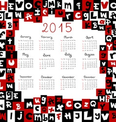 2015 calendar with letters vector image