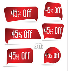 45 percent off red sticker collection vector image
