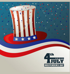 4th july independence day top hat flag usa vector