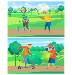 aged people in park old man and woman vector image