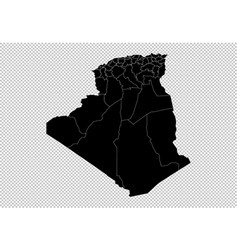 algeria map - high detailed black map with vector image