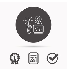 Baby monitor icon Video nanny for newborn sign vector image