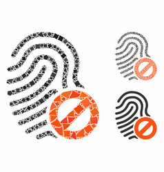 Banned fingerprint composition icon rugged vector