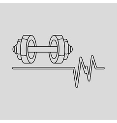 Barbell heart rate icon design graphic vector