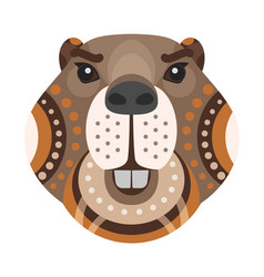 beaver head logo decorative emblem vector image