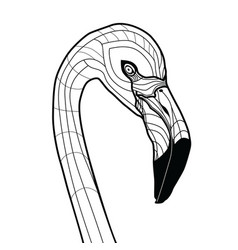 Bird head flamingo tattoo isolated vector