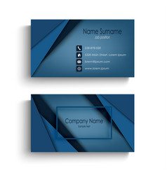 business card with design abstract blue triangles vector image