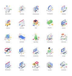 Business promotion isometric pack vector