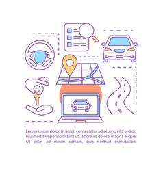 car rental concept linear vector image