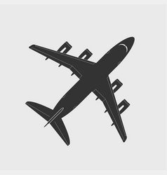 cargo aircraft silhouette top view vector image