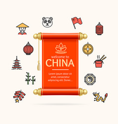 china design template line icon concept and paper vector image