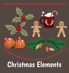 christmas element collection with flat design vector image