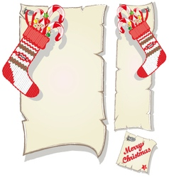 Christmas set empty frame and socks with candy vector