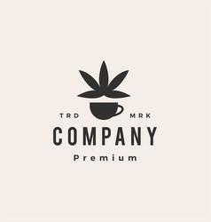 coffee cannabis hipster vintage logo icon vector image