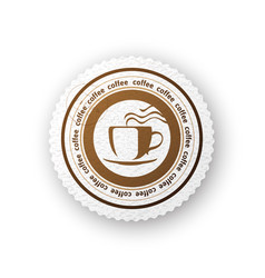 coffee round paper emblem vector image