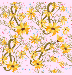 colorful yellow floral flower seamless pattern vector image
