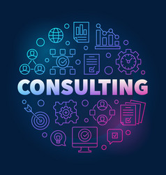 consulting round colorful outline vector image