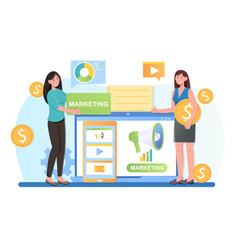 content manager at work create smm strategy vector image