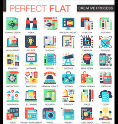 Creative process complex flat icon concept vector